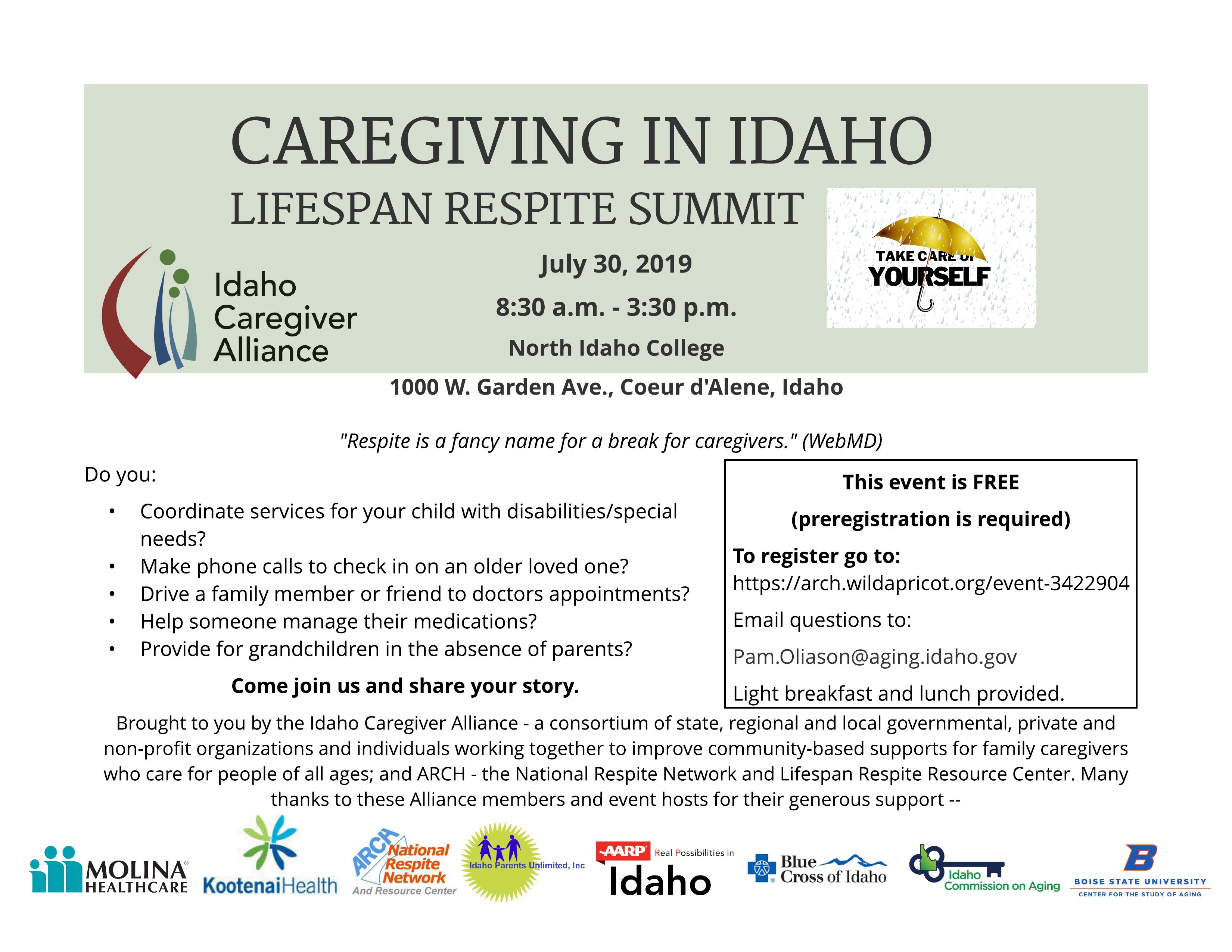 Caregiving in Idaho Lifespan Respite Summit – Northern Idaho