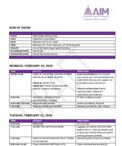image of agenda for Impact Movement for Alzheimer's association 2020