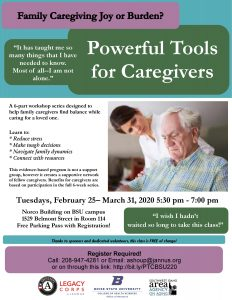 Powerful Tools for Caregivers BSU 2020 class flyer
