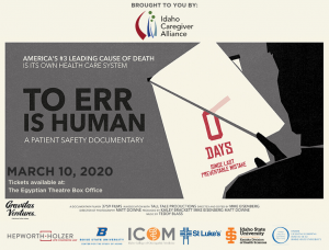 Media flyer for To Err is Human Boise showing