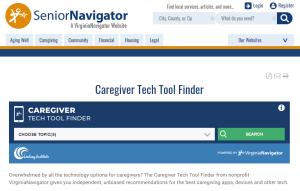 screen shot of caregiver tech tool on senior navigator website