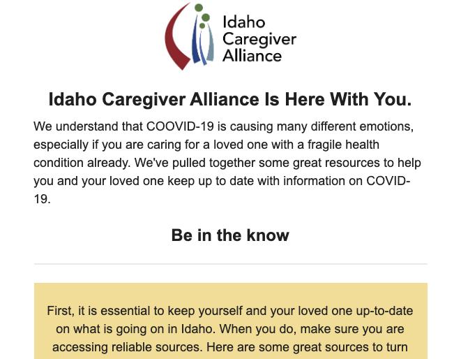 screen shot of ICA newsletter