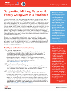 Military Veteran Family Caregivers COVID flyer pg 1 of 2