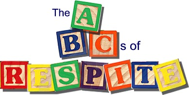 "Children's ABC blocks spelling out ""The ABCs of Respite."""