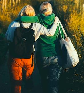 Two friends walking.